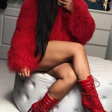 Warm Faux Fur Short Red Coat Outwear