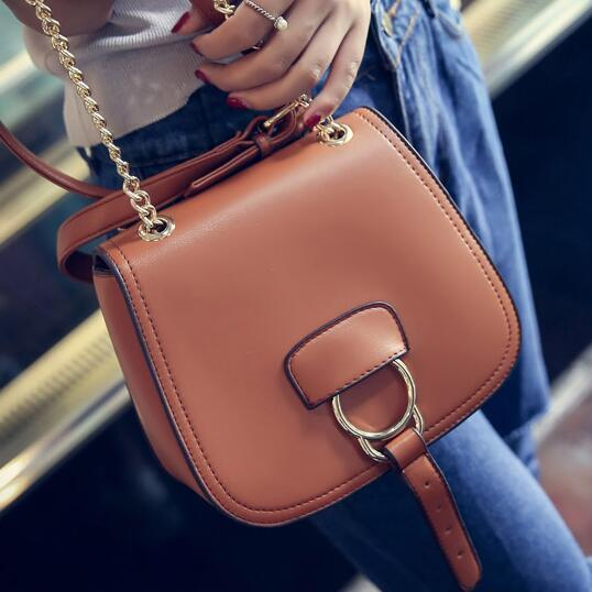 Solid Color Shell Shape Belt-Decorated Crossbody Bag