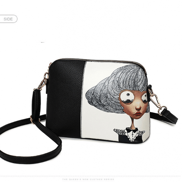 Color Block Cartoon Pattern Crossbody Bag