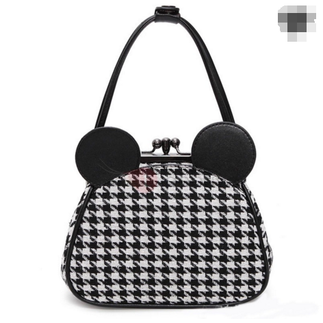 Mickey Head Houndstooth Pattern Crossbody Bag
