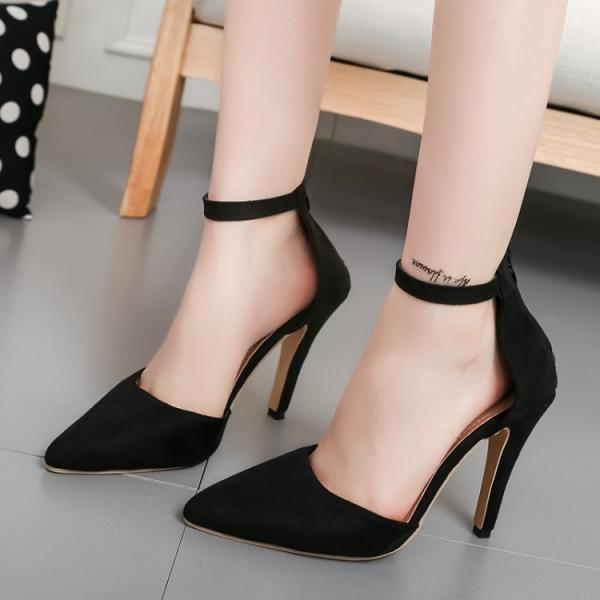 Simple Low Cut Ankle Wrap Stiletto High Heels Party Shoes