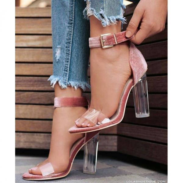 Transparent Chunky Heel Peep-toe Ankle Strap High Heel Pumps Sandals