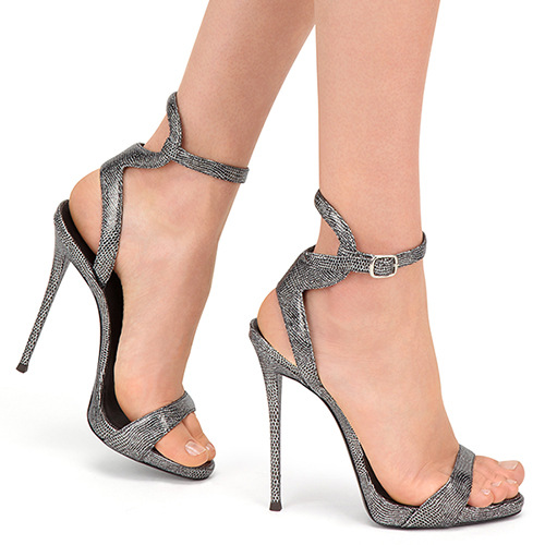 Shinning Open Toe Ankle Wrap Super High Stiletto Heel Sandals
