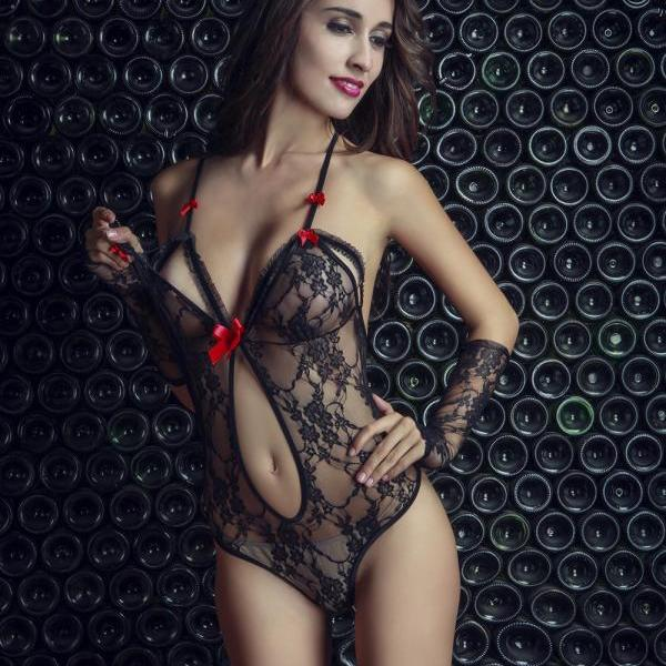 Women Bodystocking sexy costumes Bodysuit Sexy Deep V-Neck Sleeveless Lace Floral See Through Lingerie