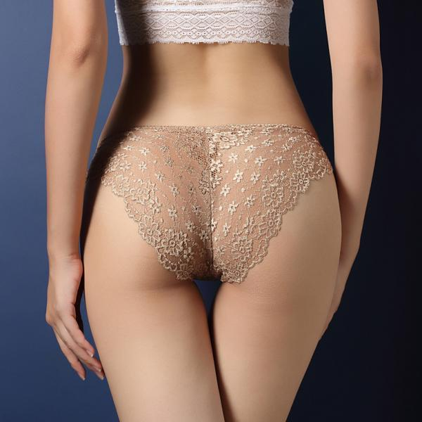 Sexy lace transparent seduction briefs low waist buttocks hollow T trousers.(Buy three pieces and send one.)