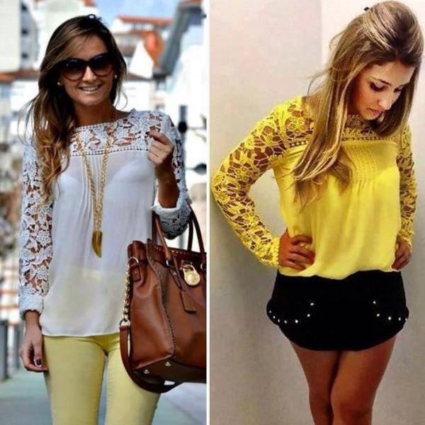 Lace Woven Openwork Hollow Out Stitching Lace Sleeves Chiffon Blouse