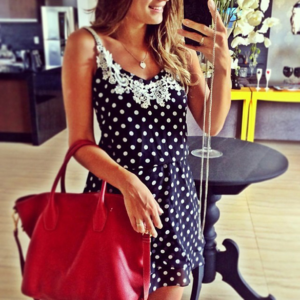 New Fashion Women's Ladies Casual Sleeveless Polka Dot Lace Chiffon Dress