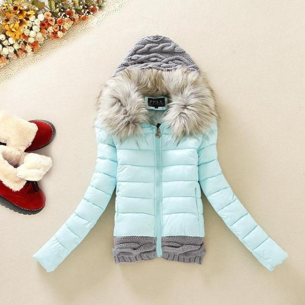 Knitted Splicing Stylish Hooded Long Sleeve Women's Down Coat