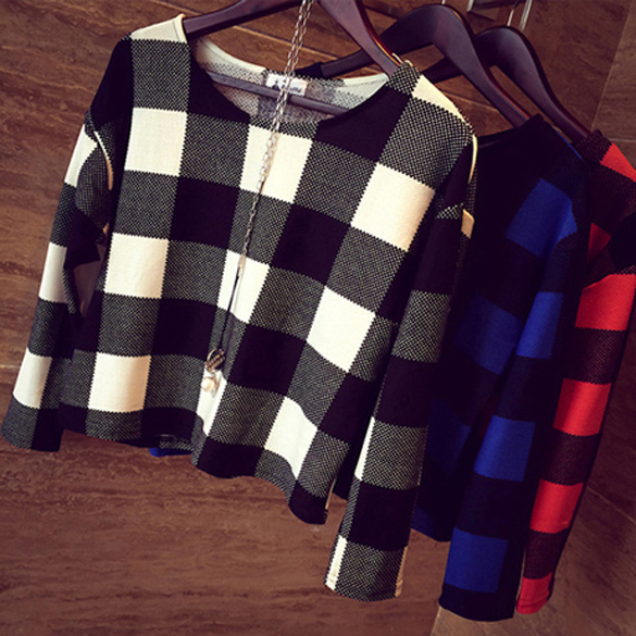 Plaid Print Round Neck Long Sleeve Casual Loose Short Blouse Tops T-Shirt Womens