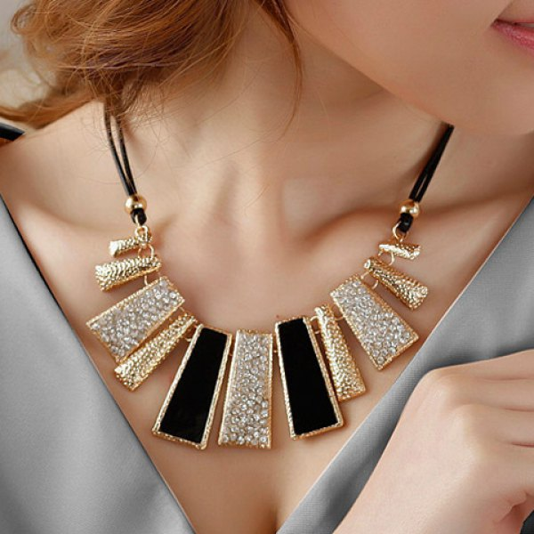 Vintage Diamante Colored Geometric Pendant Hollow Necklace For Women