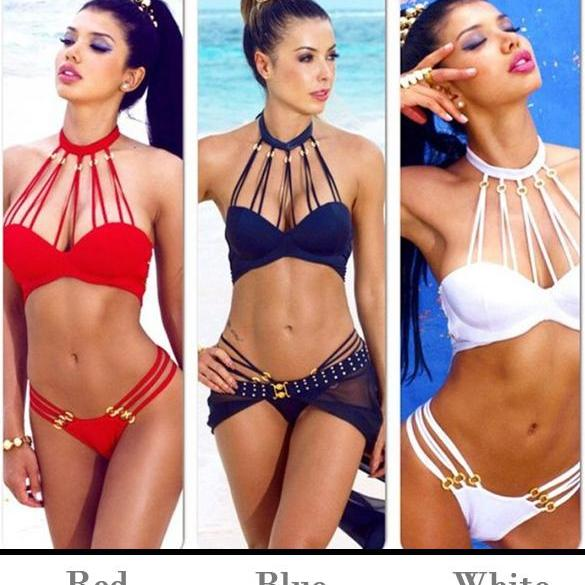 Bandage Golden Ring Straps Hollow Out Push Up Bikini Set Swimwear
