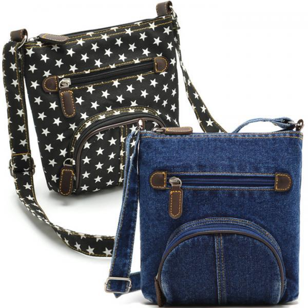 Unisex Women Blue Denim Shoulder Bag Jean Purse Vintage Cross Bag Handbag
