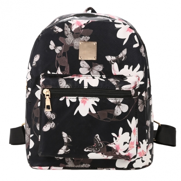 New Fashion Women Floral Print Travel Vintage Style Synthetic Leather Backpack