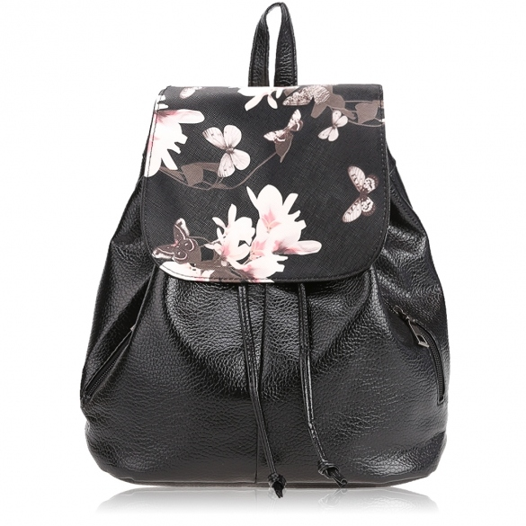 Floral Print Backpack with Front Flap and Drawstring Closure