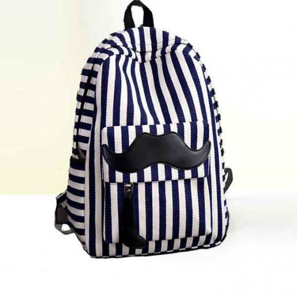Fashion Stripe Mustache Letter Print Canvas Backpack Bag