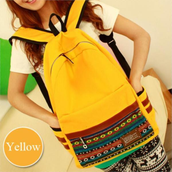 Plaid Patchwork Stylish Canvas Backpack Bag