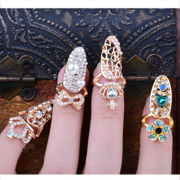 Fashion Bowknot Crown Crystal Finger Nail Art Ring Jewelry Fake Nail Art Finger