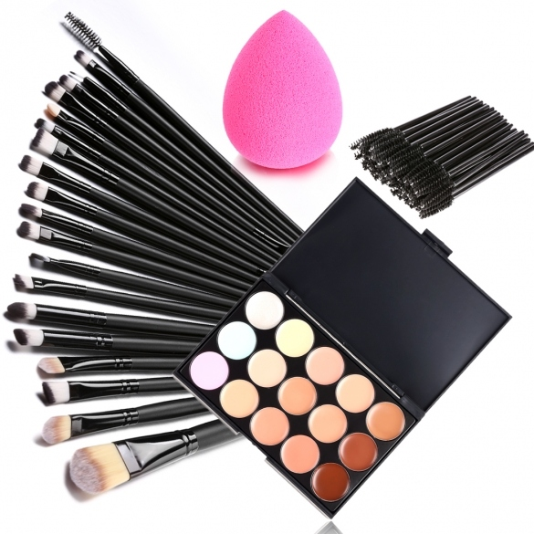 15 Colors Makeup Cosmetic Face Cream Concealer Palette + 70 PCS Brushes Kit Set + Face Power Puff Sponge