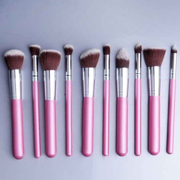 Hotsale PINK Makeup 10pcs Brushe Set Powder Foundation Eyeshadow Eyeliner cosmetics Tool