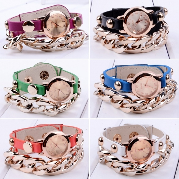 Women Punk Gold Plated Multicolor Wristwatch Synthetic Leather Chain Watches