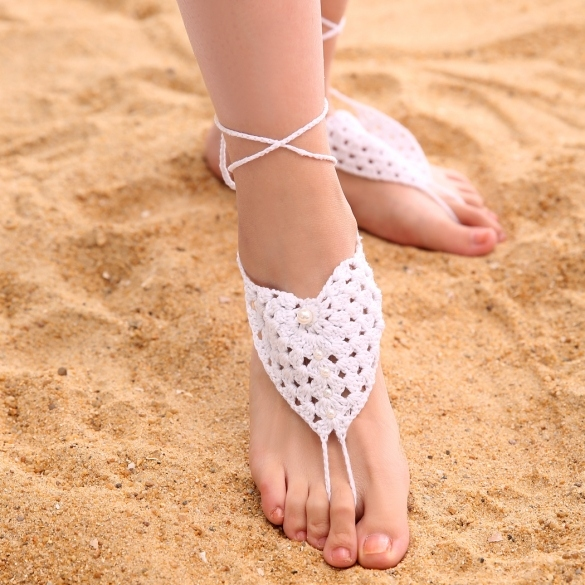 Fashion Women Hand-made Knit Crochet Adjustable Anklets Beach Barefoot Anklets With Beads