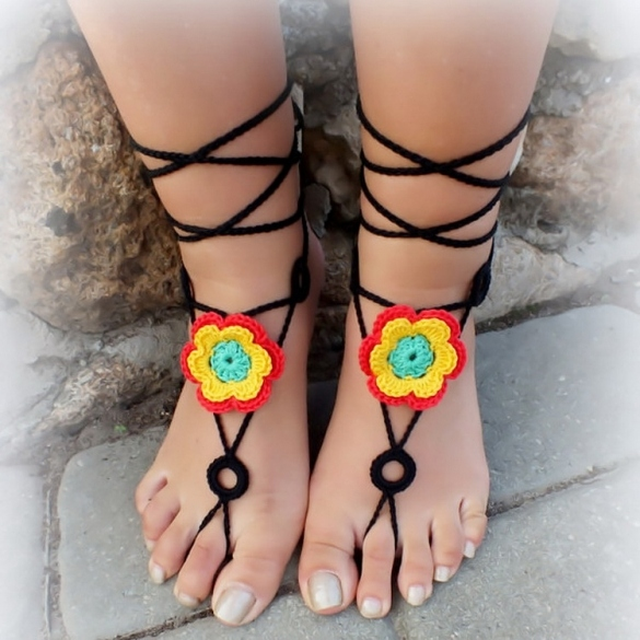 Hot Fashion Women Hand-made Knit Crochet Floral Hollow Out Lace Up Casual Beach Anklets