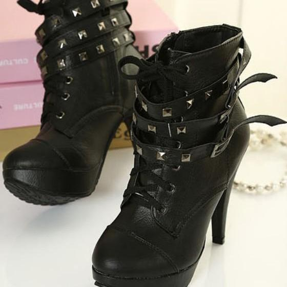Removable Rivet Buckle Belt High Heeled Moto Boots