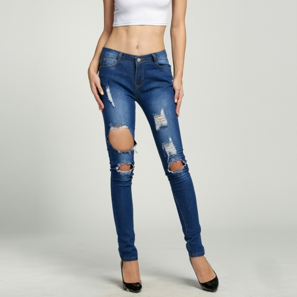 Fashion Women Denim High Waisted Ripped Hole Skinny Stretch Pencil Jeans