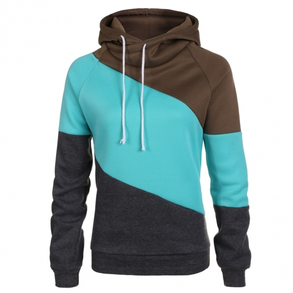 Stylish Ladies Women Casual Sportwear Contrast Color Sweater Thick Sweatshirt Hoodies