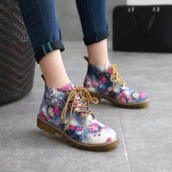 Rose Printed Lace-Up Combat Boots