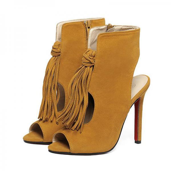 Peep-Toe High Heel Cut Out Sandals with Knotted Tassel