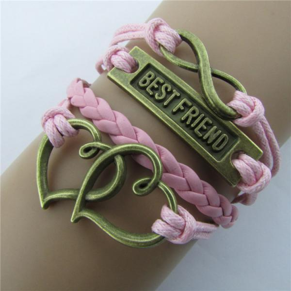 Double Heart Eight Wax String Fashion Bracelet