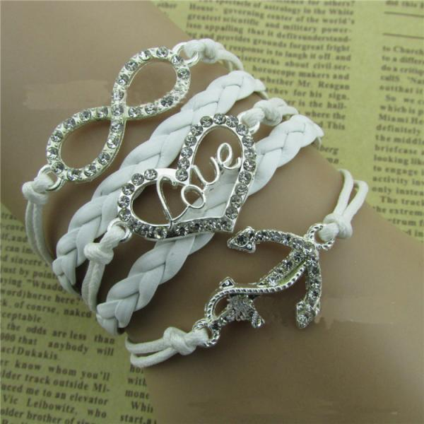 Diamond LOVE Beautiful Leather Cord Bracelet