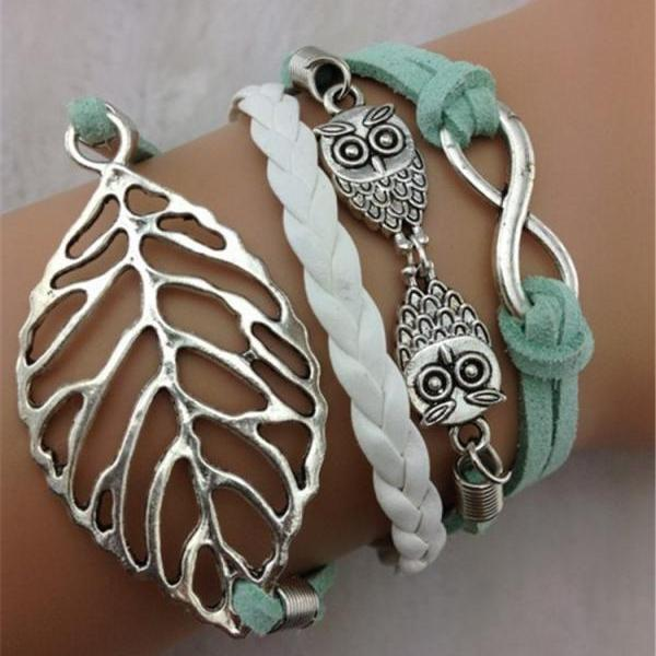 Joker Leaves Owl Multi-layer Leather Bracelet