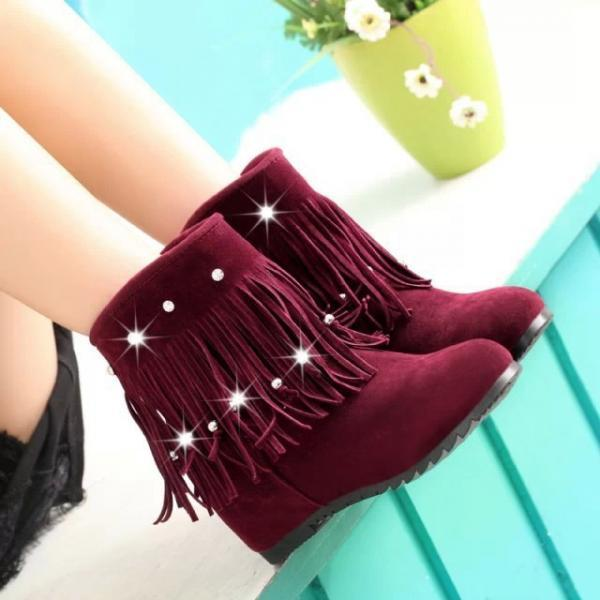 Round Head Tassel Diamond Increased Warm Snow Boots