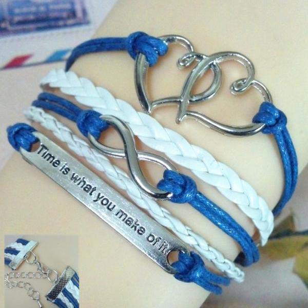 Silver Heart Sweet Multilayer Bracelet