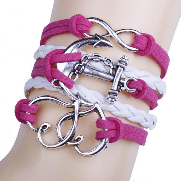 Romantic Heart Anchor Woven Multilayer Bracelet
