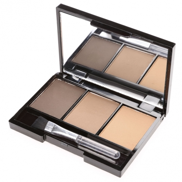 3 Colors Eyebrow Powder Palette Smudge Proof With Mirror And Eyebrow Brushes